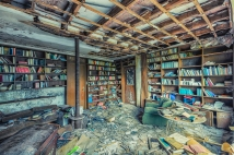 old abandoned library in house